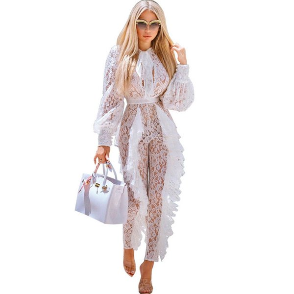 Sheer Long Sleeve White Lace Jumpsuit For Women Sexy See Through Floral Ruffles Bodycon Rompers Christmas Night Club Overalls J190718