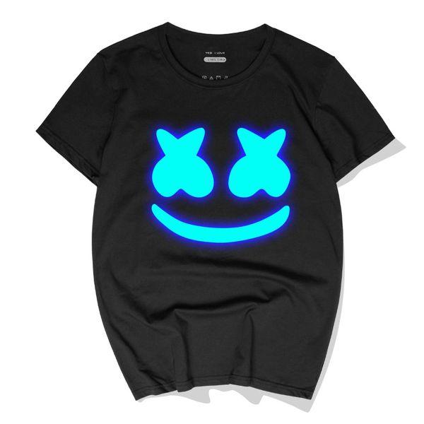 Casual Men T-Shirts Luminous DJ Marshmello Camisetas de algodón Tops Nueva moda de manga corta cuello redondo Polos alta calidad Streetwear