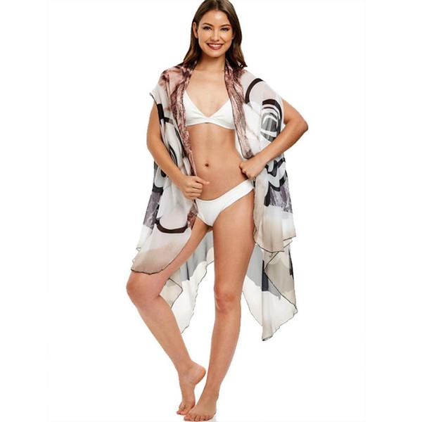Yeni Kadın Lace Up Yaka Gevşek Yok Beachwear Bikini Kapak Up Gevşek, Ön Açık, Şifon Pelerin See Through
