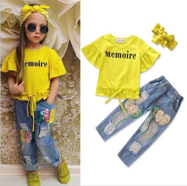 Kids INS Conjuntos de ropa de verano Trajes para niños Mangas cortas Lotus Leaf Camiseta Jeans Holes Lentejuelas Jean Fashion Girls diadema 3PC / set LT1305