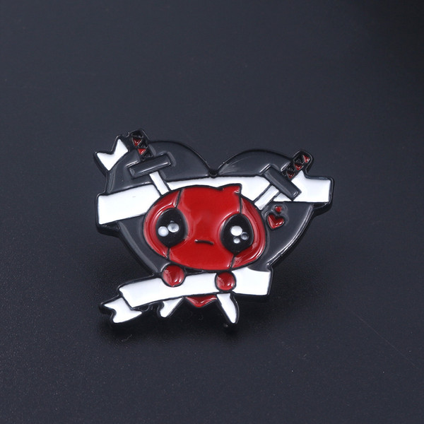 América DC Comic Deadpool Broche Marvel Anime Deadpool Máscara Do Coração Esmalte Pinos Lapelas Vestido Camisa Acessórios Jóias