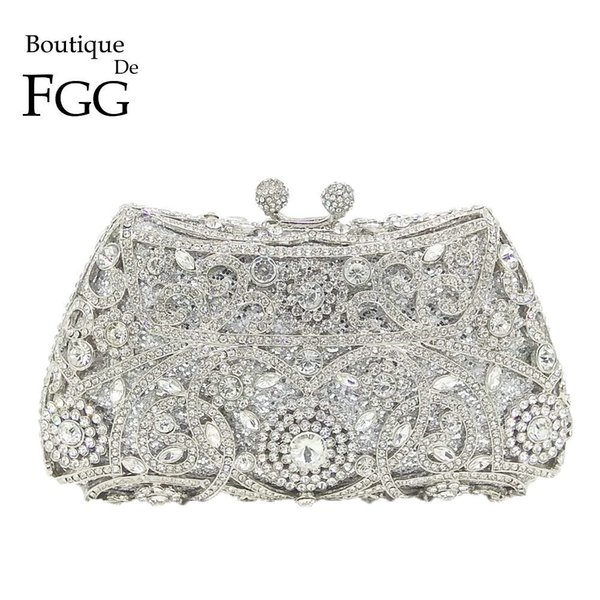 Boutique De Fgg Sparkling Silver Women Crystal Clutch Evening Bags Bridal Diamond Clutch Purse Wedding Party Minaudiere Handbag Y190626