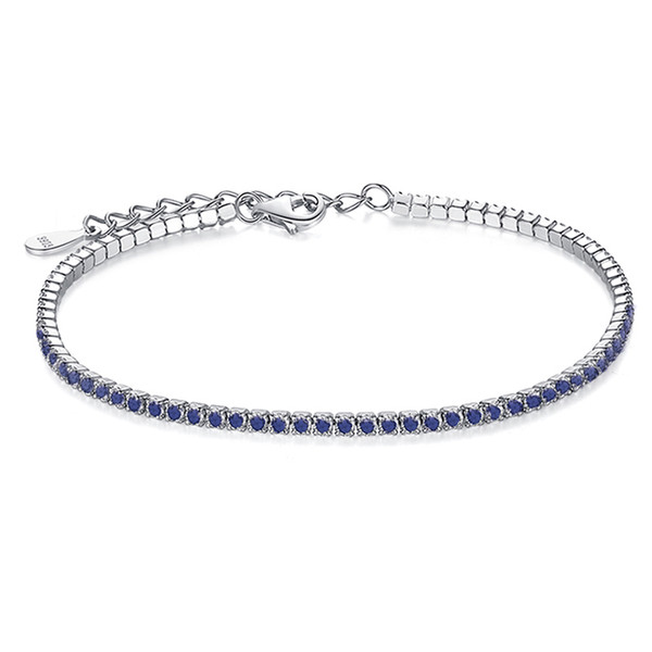 Bracelets de charme en argent sterling 925 pour femmes avec chaîne à maillons cubiques en zircone Anti-allergie argent-bijoux en argent sterling