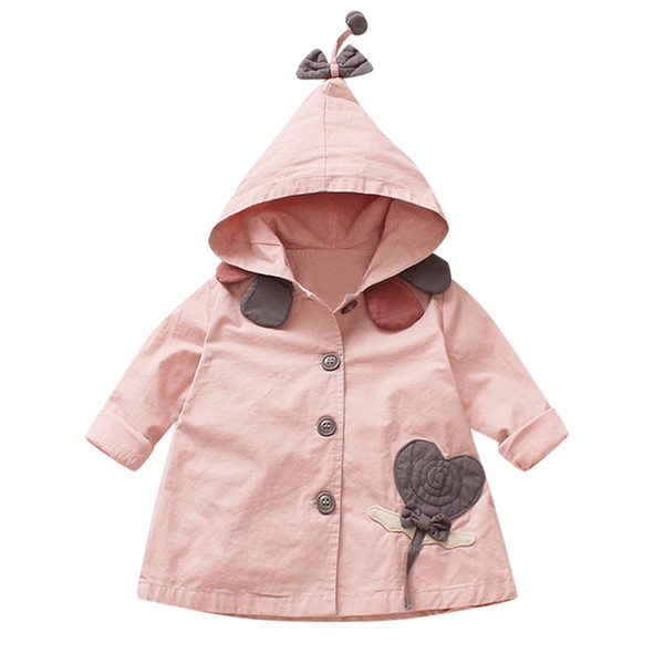 Ctue Trench For Baby Girls Children 2018 Toddler Baby Girls Outerwear Jacket Cartoon Windbreaker Hooeded Coat Clothes