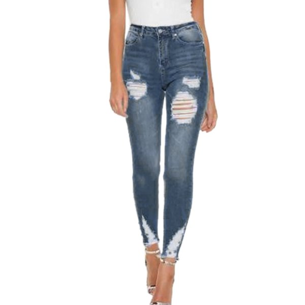 High Waist jeans Womens Destroyed Ripped Distressed Slim Denim Jeans Boyfriend female Stretch Sexy Hole Pencil Trousers
