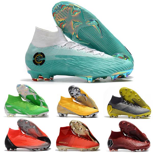 2019 Hot Mercurial Superfly VII 7 360 Elite FG VI CR7 Ronaldo Neymar NJR Mens Boys High Ankle Soccer Shoes Kids Football Boots Cleats