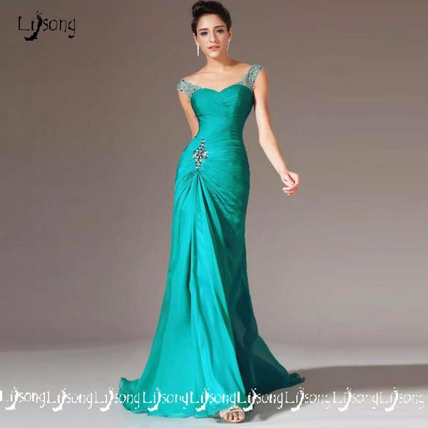 Turquoise Beaded Chiffon Women Evening Formal Dress Bridal Mother Long Dress Vestido de festa Custom Made 2018 High Quality Prom Maxi Gowns