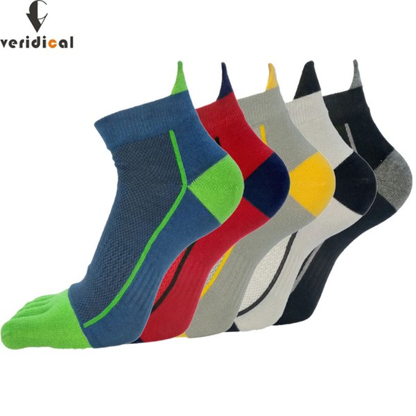 Veridical 5 Pairs/lot Cotton Toe Men Boy To Protect Ankle Five Finger Compression Mesh Crew Boat Socks Fashion MX190719