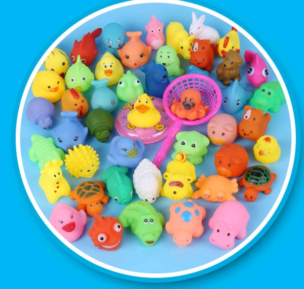 top popular Wholesale Baby Bath Toys Shower Water Floating Squeaky Yellow Ducks Cute Animal Baby Shower Toys Rubber Water Toys Free Shipping 2020