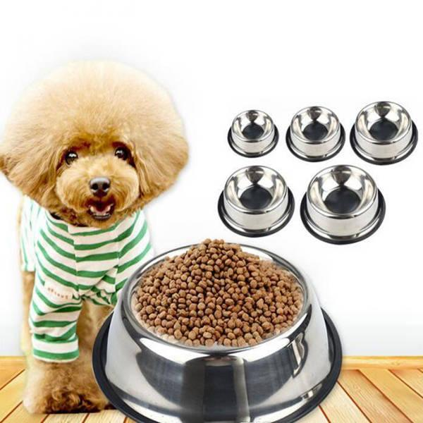 best selling No-Slip Pet Stainless steel Food Bowls skid for cats Dogs Bowls Drinking Water Pet Dog Dish Feeder Goods