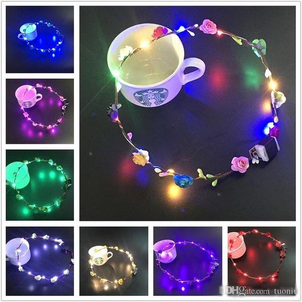 Blinkende LED-Strings Glow Flower Crown Stirnbänder Light Party Rave Floral Haargirlande Luminous Wreath Hochzeit Blumenmädchen Kinder Spielzeug