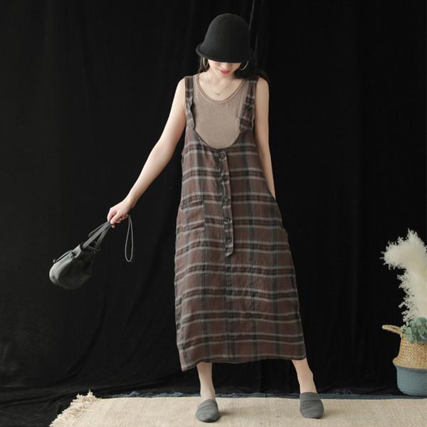 Johnature Nouveau Style Casual Lin Plaid Sans Manches Fashion Dress Femme 2019 Été Rétro Littéraire Loose Button Robe Féminine