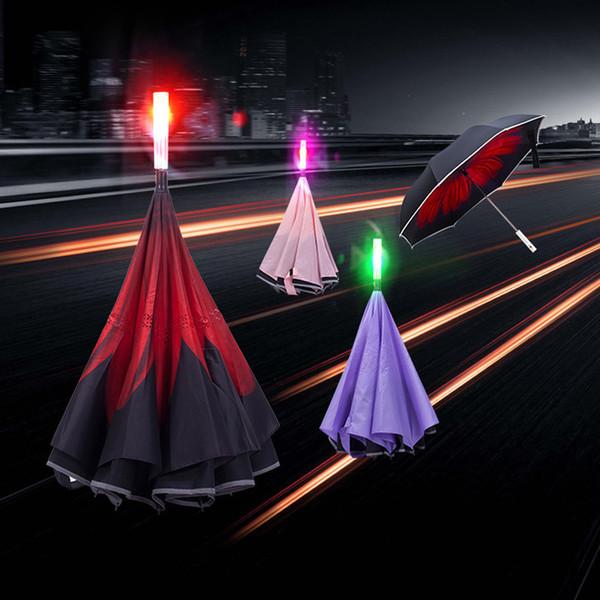 Aviso de Carro LEVOU Guarda-chuvas Reversa Dupla-camada Luminosa Guarda-chuva Reversa Longa Em Linha Reta Guarda-chuva de Segurança Personalizado Guarda-chuva Com Luz BH1691 TQQ