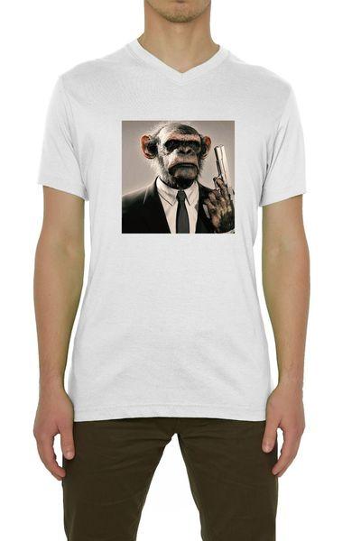 Monkey In A Suit Holding A Gun Art Men's T-Shirt V-Neck White (S-XXL) mens pride dark t-shirt white black grey red trousers tshirt