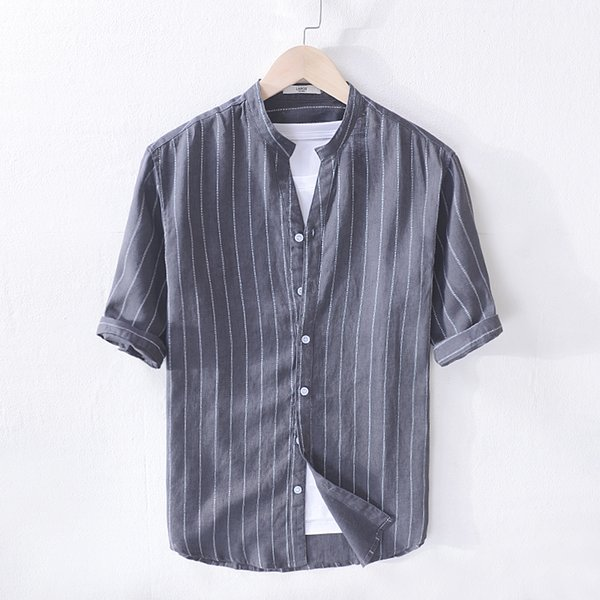 New arrival Italy brand linen shirts men fashion stripe black gray shirt mens casual summer shirt men tops stand collar chemise