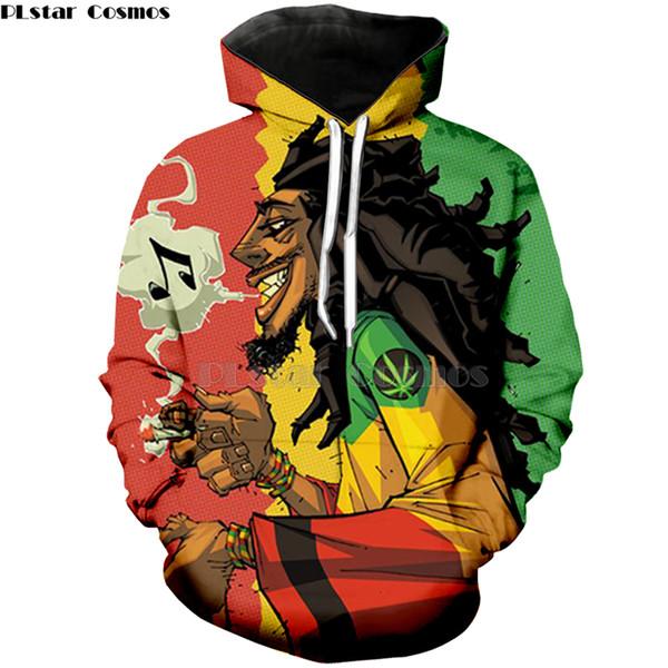 Nouvelle arrivée à capuche hommes / femmes chanteur hip hop Bob Marley sweat à capuche imprimé 3D sweat-shirts à manches longues style Harajuku Zipper / Jacket
