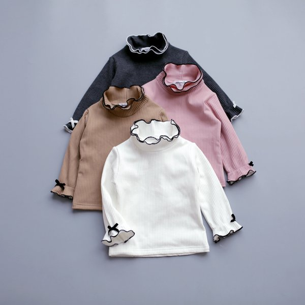 2019 New Autumn Winter Toddler Baby Cute T Shirt Long Flare Sleeve Princess Ruffle Collar Top Warm Velvet Girls White Bow Blouse