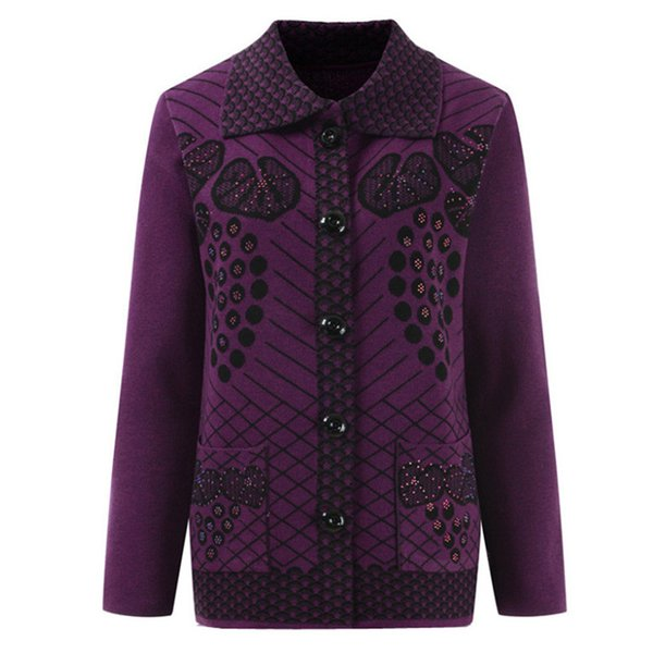 B2513 2019 new spring Autumn middle-aged women fashion flower cardigan sweater mother's coat cheap wholesale