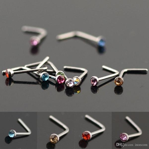 50 pcs Cristal En Acier Inoxydable Faux Nez Stud L En Forme de Faux Nez Anneaux Pour Les Femmes Septum Corps Piercing Bijoux 20 Gauge En Gros