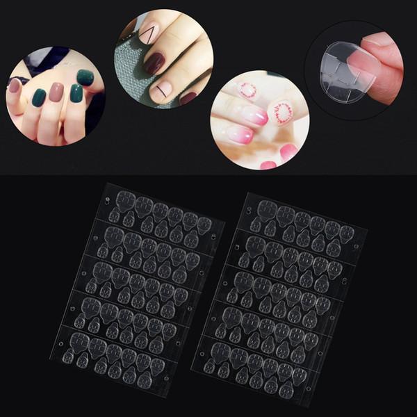 Nouvelle marque 50 feuilles / lot double face ongles autocollants adhésif colle autocollant effacer ruban adhésif faux ongles autocollant colle manucure outils