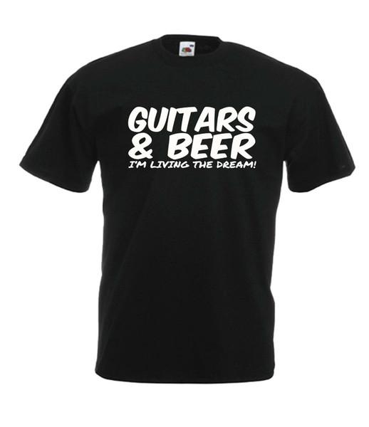 GUITARRA DE CERVEJA T engraçado natal homens do presente de aniversário mulheres novo top T camisa de manga curta camiseta frete grátis barato wholesa