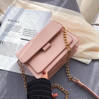 Nueva mujer con estilo Flip pequeño bolso cuadrado calidad de la moda cuero de la PU diseñador de las mujeres Bolso de hombro informal Bolsas de mensajero (Rosa)