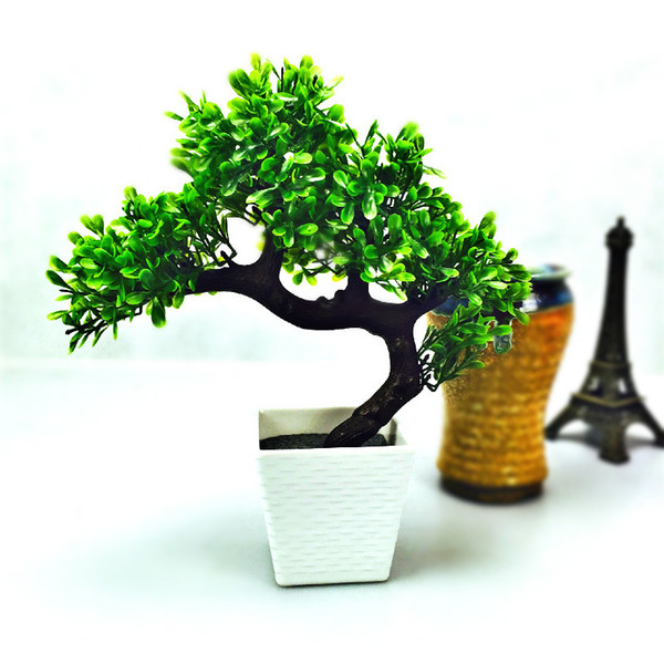 Artificial bonsai tree Welcoming plant Fake flower Green plant Simulation pine trees Flower pot vase wedding home decoration