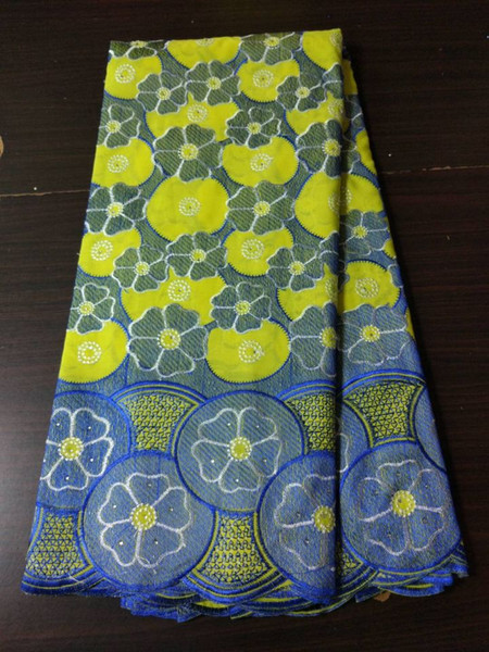 5 Yds/pc New fashion yellow african cotton fabric with blue flower design swiss voile lace for clothes BC150-3