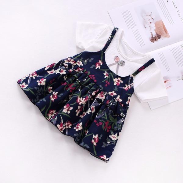 BibiCola 2019 Baby Girl Summer Dress Top Short T-Shirt+Strap 2Pcs Baby Girl Princess Dress Bow Floral Print Cotton Kids Clothes