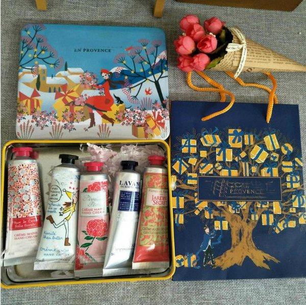 top popular Brand hand cream suit For Christmas EN PROVENCE Hand care Cream suit 5pcs pack mini hand lotions For DHL free ship. 2021