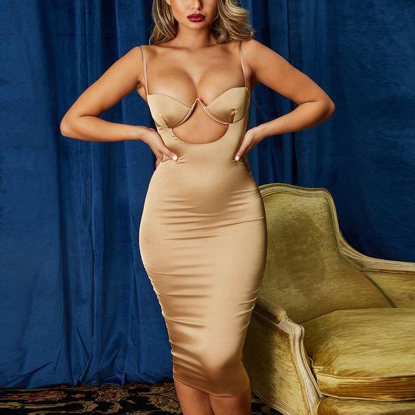 Designer poitrine évider capitonnée sexy robe Stretchy 2020 femmes d'été d'été bretelles spaghetti fête d'anniversaire Robe moulante longue