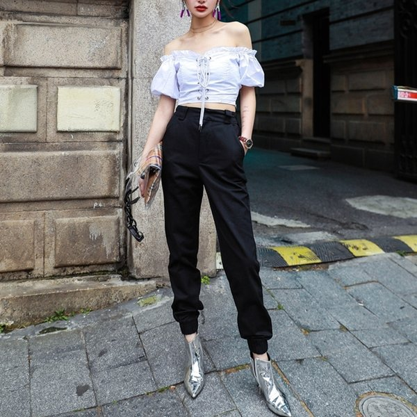 Yüksek Bel Camo Siyah Pantolon Joggers Kadın Kapriler Zincir Kargo Pantolon Pantolon Kadın Kamuflaj Kore Moda
