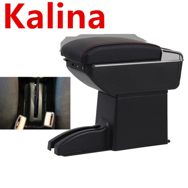For Kalina Armrest Box Double Layer with usb Car Central Armrest Storage Box accessories