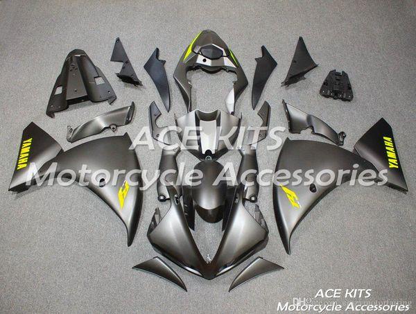 ACE KITS Carenado de motocicleta para YAMAHA YZF R1 2009-2012 Inyección o Compresión Carrocería espectacular Black Silver Scrub NO.2153