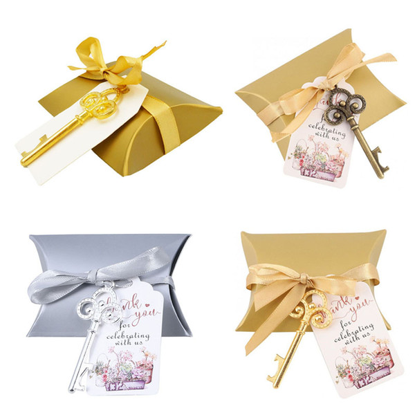 Pillow Shape Candy Box with Vintage Bottle Opener Set Wedding Gift Party Favor