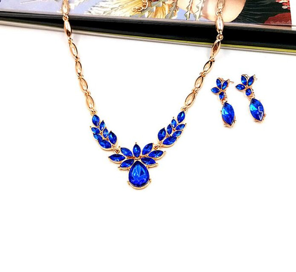 Green/Blue/Purple Gemstone Necklaces Women Fashion Crystal Earring Necklace Set Lady 18K Gold Chain Exquisite Party Jewelry Sets Crafts Gif