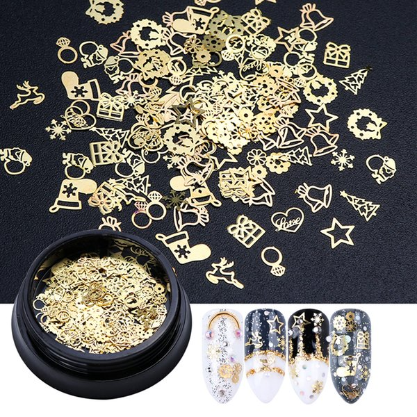 1 Bottle 3D Gold Metal Slices Nail Art Decoration Christmas Snowflake Star Mixed Design Hollow Tiny Slice Nail Accessories TR708 D18120801