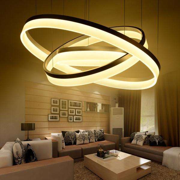 40 60 80CM 3 Rings Modern LED Ceiling Light For Living Room Bedroom Luminaire Acrylic Hanging Ceiling Lamp Lighting Fixtures