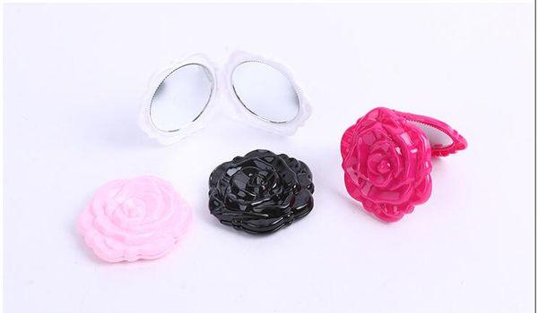 Мини Винтаж Ретро Форма Цветка Розы 3D Стерео Двухсторонний Косметический Макияж Компактное Зеркало 4 Цвета выбрать 300 Шт