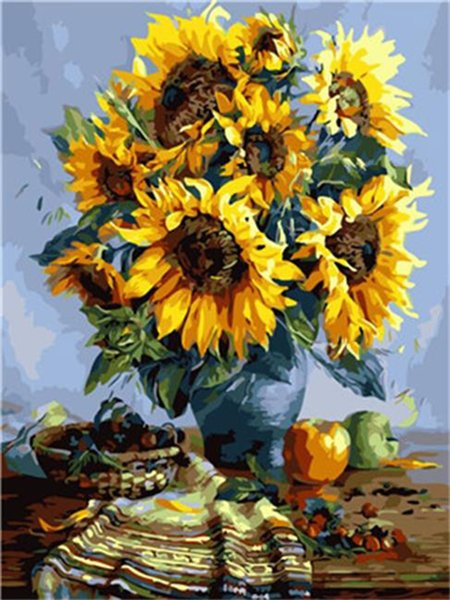 16x20 inches Floral Art Sunflower in Blue Vase DIY Paint By Numbers Kits On Canvas Art Acrylic Oil Painting
