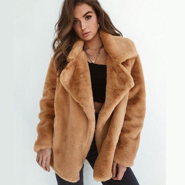 Сексуальные женщины 2018 зима теплая плюшевый мишка флисовая куртка стильный прохладный партии пальто топы негабаритных открытый пальто S-XL