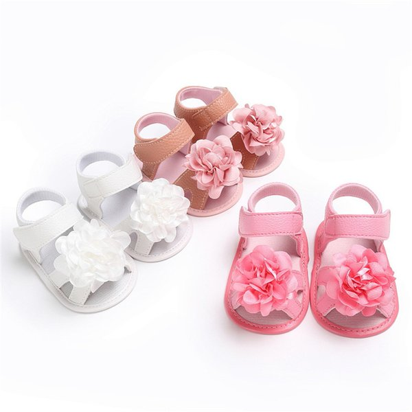 Summer Girls Sandals Toddler Newborn Baby Girl Crib Shoes Flower Soft Sole Anti-slip Sandals NDA84L24