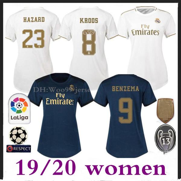 Frauen Real Madrid Heim Auswärts Fußball Trikot 2019 2020 # 23 HAZARD Weibliches Fußballtrikot # 11 BALE # 28 VINICIUS JR # 4 RAMOS Frauensportuniformen