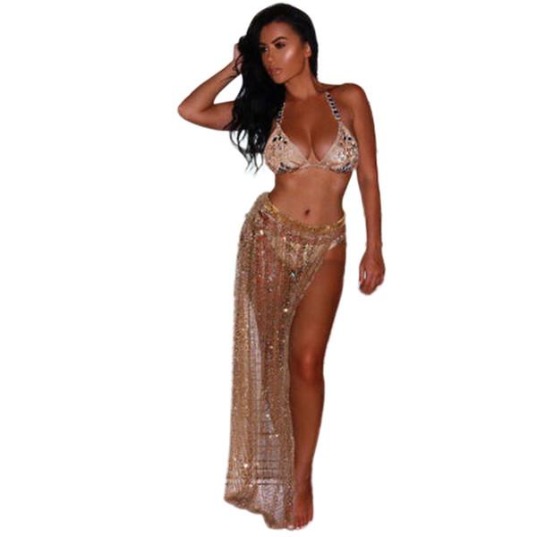 feitong Beach Cover Up Bikini Sequins Swimwear Coverup Sarong Wrap Pareo Skirt Swimsuit #w40