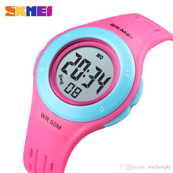 SKMEI 1455 Kinderuhr Multifunktionale LED Digital Armbanduhr 50 Mt Wasserdichte Sportuhr für Jungen Mädchen Alarm Uhr