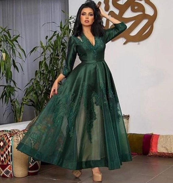 Appliqued Dark Green Arabic Evening Dresses 2019 Plus Size V Neck Formal  Party Gowns 3/4 Sleeves Dubai Prom Dress Robe De Soirée Quiz Evening  Dresses ...