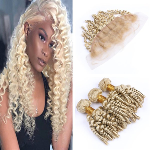 613 Blonde Funmi Human Hair Weave Bundles with Lace Frontal Closure Platinum Blonde Romance Spiral Curls Hair Extensions and Frontal
