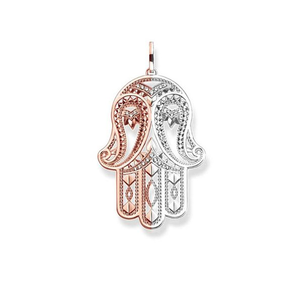 Silver/Rose Gold Hand of Fatima Pendants Fashion DIY Jewelry Making White CZ Necklace Accessories for Women Men Gifts 2018 New