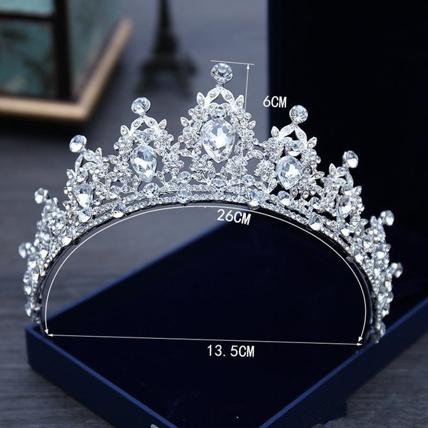 top popular 2021 White Crystal Bridal Jewelry Tiara Headpieces Crown Princess For Wedding Dress Accessories 2021