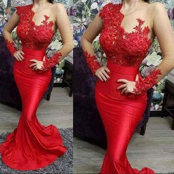 2020 Robes de bal rouge à manches longues Sheer Sexy Appliques sirène Illusion Top satin longueur de plancher Vestidos de festa Robes de soirée formelles